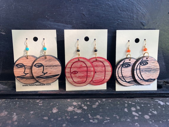 "Red Oak Earrings from ""Faces"" Series of Art"