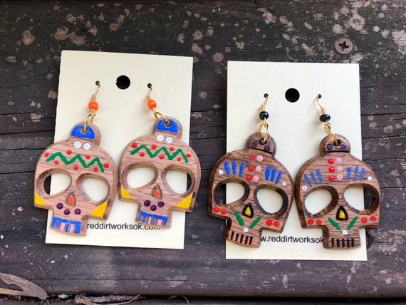 Day of the Dead wooden earrings