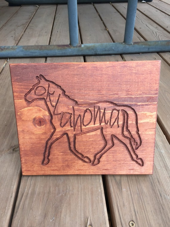 Horse Outline with Oklahoma or your horse's name or state