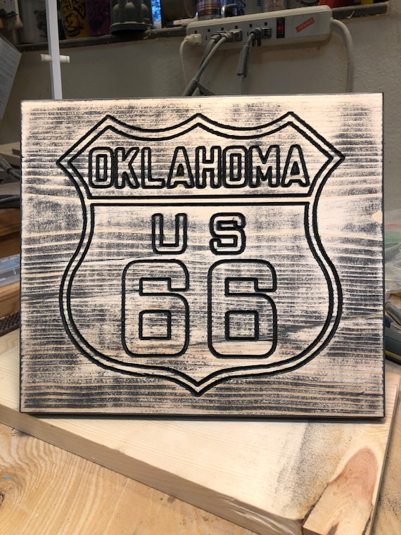 Oklahoma Route 66 carved wooden sign