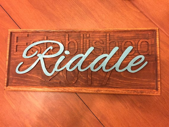 embossed wedding or anniversary or family sign - wooden stained custom personalized