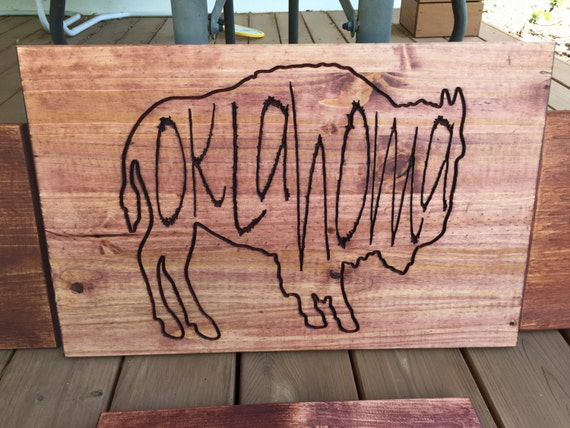 Huge Buffalo/Bison Oklahoma wood sign