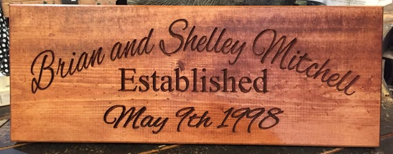 wedding or anniversary sign -- personalized carved stained wood