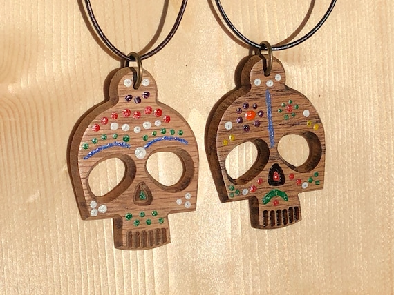 Day of the Dead wood pendant on leather cord necklace