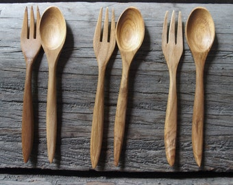 Set of 3 Pairs Reusable 5 inches TEAK Wood Fork and Spoon Delicated Handcraft Party Picnic Small Size Natural Color / Wedding Souvenir