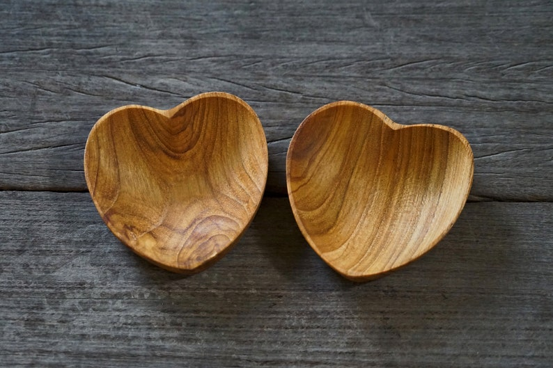 Set of 2 Heart Shaped Teak Wood Dip Sauce Small Bowl Love Symbol Serving Platter Utensil