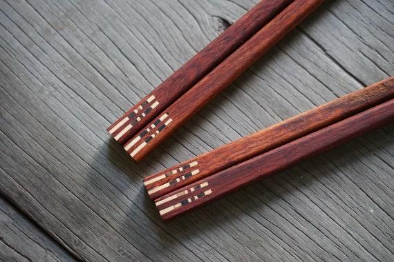 2 Pairs Wooden Chopstick Unique Design High Quality Handmade Wood Chopsticks Eco Friendly