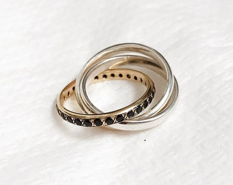Russian Wedding Ring, Handmade Engagement Ring, Mixed Metals Trinity Wedding Ring, 14K Gold & Sterling Silver  Ring with  Onyx