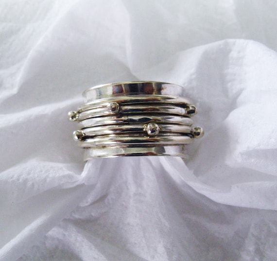 Wedding Rolling Ring Sterling Silver Dotted Spinner Ring Etsy