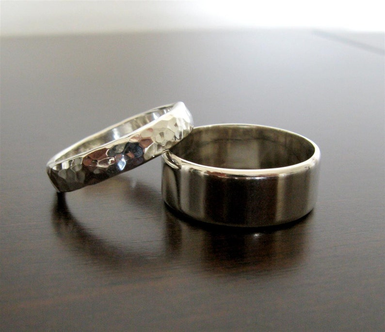 His and Her Flat Edge Engagement Band Set Sterling Silver wedding Band Rings Set