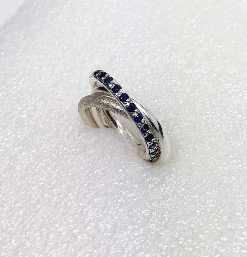 562d163535194 Statement Rolling Ring. Russian Wedding Ring with Natural Blue Sapphire,