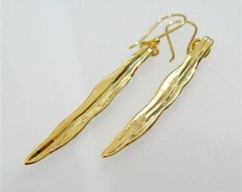 Organic Wheat Leaves Dangle Earrings. Handmade Gold Earrings. Eco Friendly Jewelry