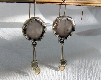 Rose  Quartz in Sterling Silver Earrings - One of A Kind  - Handmade Jewelry by Amallias