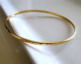 Fine Jewelry -14K Solid Yellow Gold  Hammered Bangle Bracelet. - Handmade Jewelry