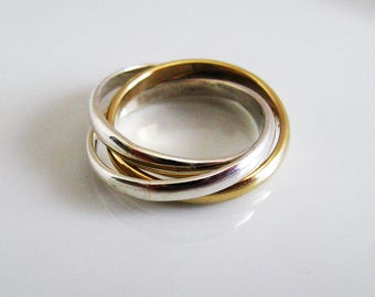 Fine Jewelry. Russian Wedding Ring. Engagement Ring. Unisex Mixed Metal Handmade Rolling Ring