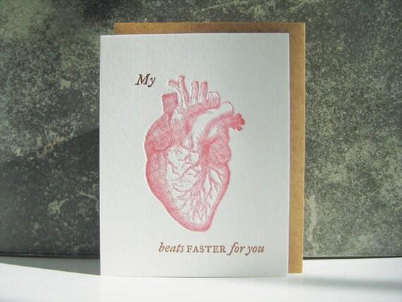 Mi corazón late más rápido para usted tarjeta de tipografía   Etsy
