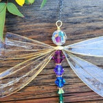 Dragonfly Sun-Catcher, Rainbow Sun- Catcher, Swarovski Crystal Sun-Catcher, Dragonfly Wedding Decor , Chakra Sun-Catcher, Garden Decor,