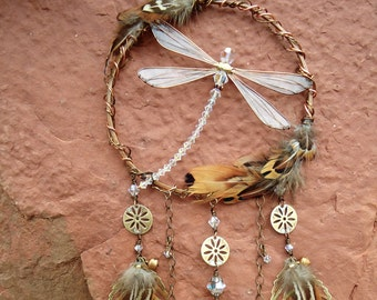 Dream Catcher Dragonfly Handmade, Sun Catcher Swarovski Crystals, Dragonfly Decor, Forget Me Not, Wedding Gift, Birthday Gift