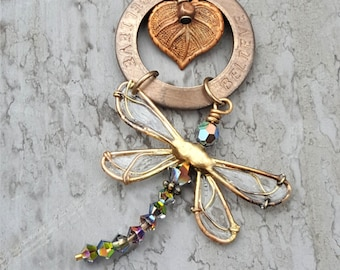BELIEVE Dragonfly Necklace, Handcrafted Jewelry for Women, BoHo Necklace Dragonfly, Steampunk Necklace Dragonfly, Pendant Dragonfly