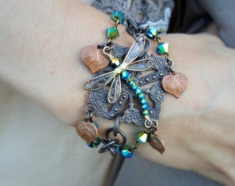 Bracelet Dragonfly, Handmade Dragonfly Jewelry, Bohemian Dragonfly Bracelet, Chunky Bracelet, Swarovski Crystal Bracelet,