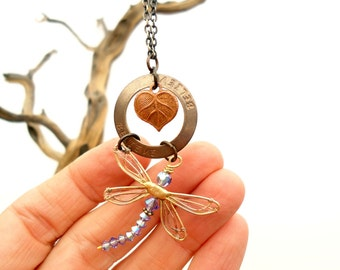 Necklace Dragonfly BELIEVE, Bohemian Jewelry, Women's Handmade Jewelry, Birthday Gift, Dragonfly Memento, Dragonfly Pendant