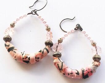 Hippie earrings, hippie jewelry, boho chic earrings, fabric earrings, unique earrings, hoop earrings, textile jewelry, art jewelry