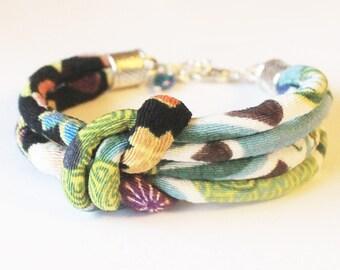 Japanese fabric bracelet Chirimen fabric bracelet Oriental jewelry rope bracelet cord textile jewelry fabric jewelry cord bracelet