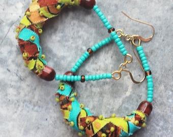 Fabric earrings, Kente fabric, fabric jewelry, handmade earrings, artisan earrings, unique earrings, boho earrings, hippie earrings