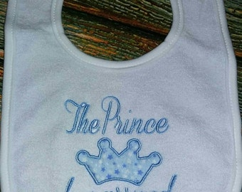 The Prince has Arrived Bib with applique Crown, baby boy bib, Prince bib