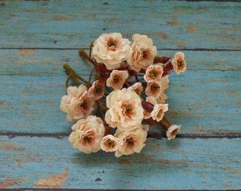 Tiny silk flowers etsy primroses artificial pom pom roses cream with peach very small flowers miniature cream pom pom roses mightylinksfo