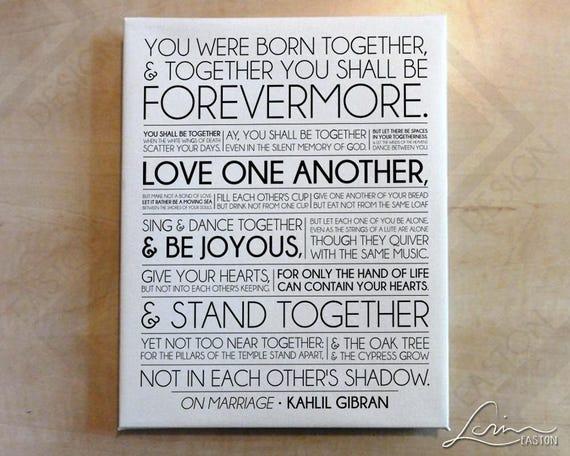 Sur Mariage Kahlil Gibran Le Prophète Mariage Ou Anniversaire De Mariage Impression Sur Toile 75 Profondeur Avec Bords Blancs 8 X 10 11 X