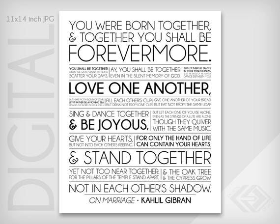 Sur Le Mariage Khalil Gibran Le Sentiment Dinspiration Prophète 11 X 14 Pouces Téléchargement Numérique Fichier Jpg 300 Dpi