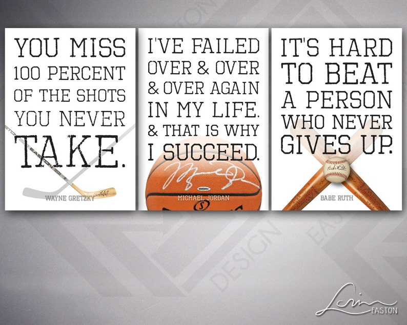2253c20b9813 Sports Quotes Prints   Posters Gretzky Jordan Ruth