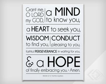 "St. Thomas of Aquinas Prayer - Inspiration Canvas Print .75"" depth with white edges - Black Text - 8x10, 11x14, 16x20"