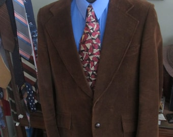 Vintage Mens Brown Corduroy Blazer/Mens Cord Jacket/Cord Sport Coat/ Measures Like a 42 tall