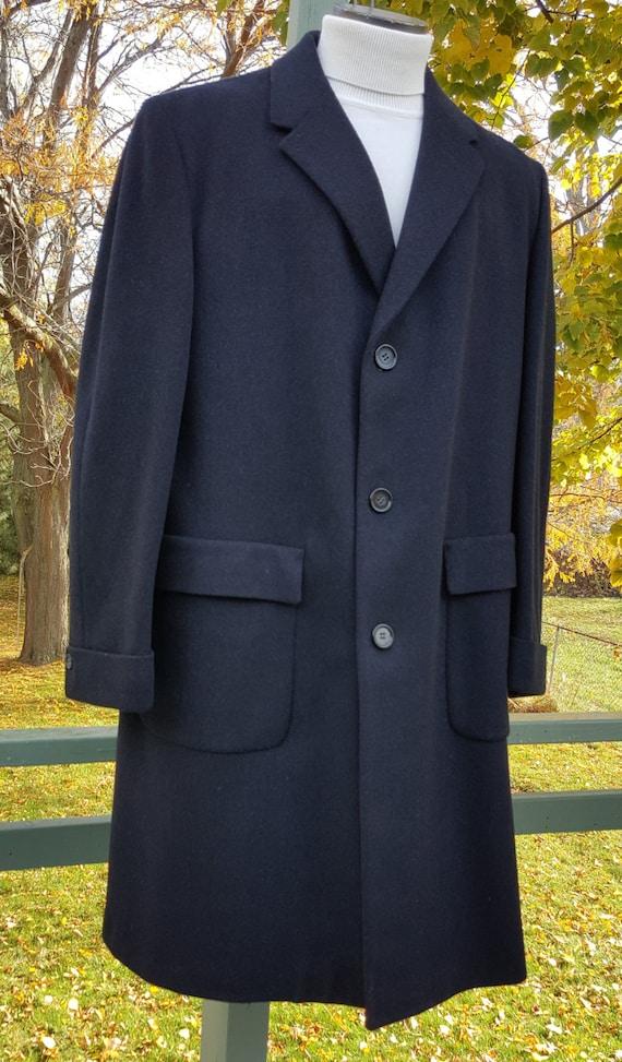 Mens 3//4 Long Wool Check Tweed Over Coat Jacket Herringbone Navy Blue Vintage