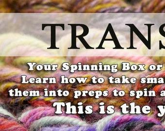 How to transform your Spinning Box or Mystery fiber box 1 1/2 hour video series.  Spin yarn, art yarn, handspun yarn, spinning wheel, roving