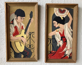 Vintage Paint By Numbers Painting PBN Cultural Pop Art Spanish Girl Historical Kitsch Signed JMK Flamenco Dancer Art Paint by Number