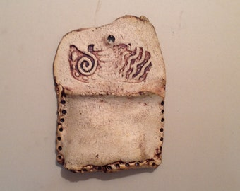 Cute funky Ceramic Wall pocket - very earthy and somewhat primitive