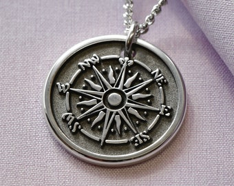 Womens Custom Compass Rose Necklace, Custom 3D Raised Engraved Compass pendant with custom message on backside