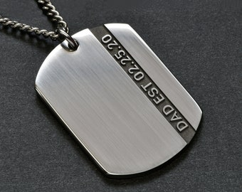 Unique Small Dog Tag Necklace for Men, Engraved Mens Dog Tag, Dad Necklace Kids Names, New Dad Jewelry, Father's Day Necklace