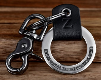 Personalized Custom Engraved Leather Keychain For Man