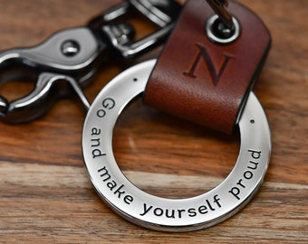College Graduation Keychain, Class of 2021 Keychain, College Student Gift - Custom Leather Keychain - Any text up to 35 Char