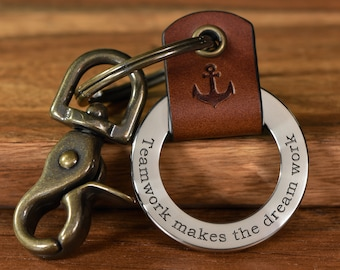 Custom Deep Engraved Leather Keychain, Personalized Handcrafted Leather Keyfob, Made in USA