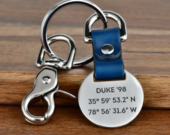 Deep Engraved Graduation Gift Leather Keychain, Graduate Gift For Him, Mens College Graduation Gift