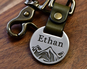 Mens Custom Mountain Keychain - Fold Over Leather Keychain - Deep Engraved with Your Own Text - Handcrafted in USA