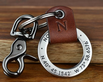 Coordinates Keychain Gift For Man - Custom Leather keychain Engraved Gift