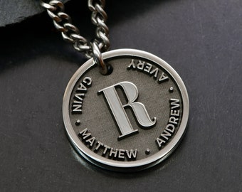 Fathers Day Necklace for New Dad, Custom Dad Necklace, Engraved Necklace with Childs Name, Adoption Gift for Dad