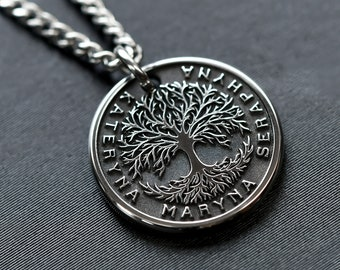 Mens Custom Tree of Life Necklace, Unique Mens Jewelry, Custom Engraved Necklace