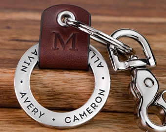 Personalized Dad Keychain, New Dad Gift, Engraved Dad Keychain, Fathers Day Keychain, First Fathers Day